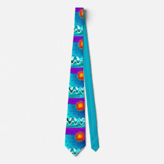 Olas oceánicas artsy del lazo de las abreviaturas corbatas personalizadas