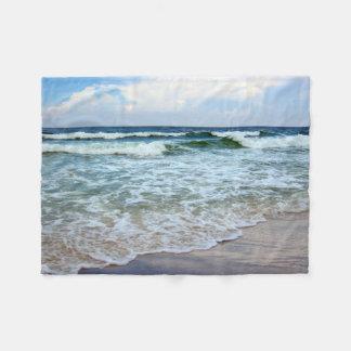 Olas oceánicas azules brillantes manta de forro polar