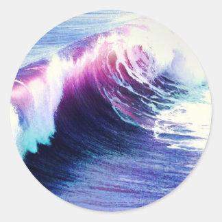 Olas oceánicas coloridas pegatinas redondas