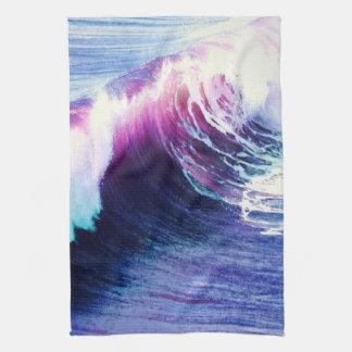 Olas oceánicas coloridas toalla de cocina