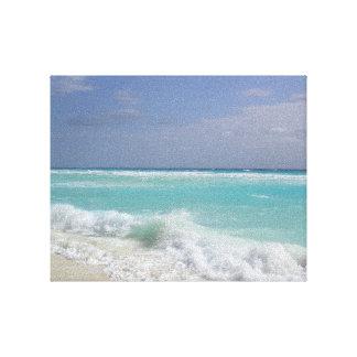 Olas oceánicas de Cancun que se rompen en la playa Impresión En Lienzo