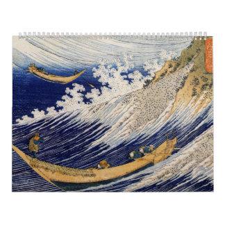 Olas oceánicas de Katsushika Hokusai Calendarios