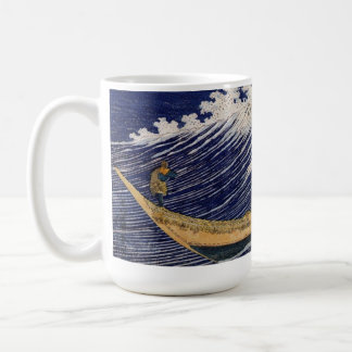 Olas oceánicas de Katsushika Hokusai Taza Básica Blanca