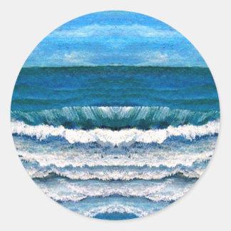 Olas oceánicas de la gloria del mar que pintan pegatina redonda