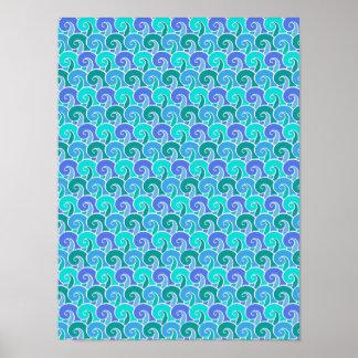 Olas oceánicas del agua en modelo náutico azul de póster