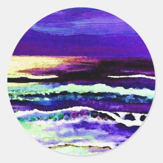 Olas oceánicas del claro de luna del océano de la pegatina redonda