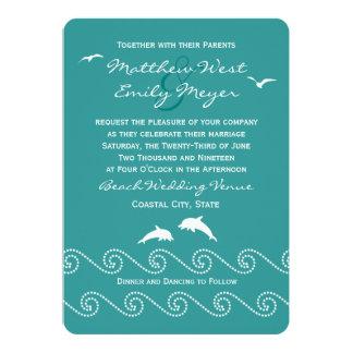 Olas oceánicas del trullo que casan la invitación invitación 12,7 x 17,8 cm