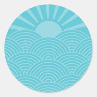 Olas oceánicas etiquetas redondas