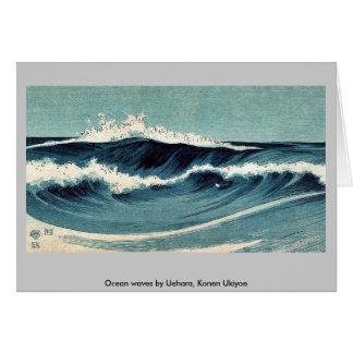 Olas oceánicas por Uehara, Konen Ukiyoe Tarjetón