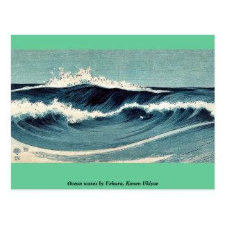 Olas oceánicas por Uehara, Konen Ukiyoe Tarjeta Postal