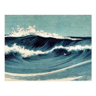 Olas oceánicas por Uehara, Konen Ukiyoe Postal