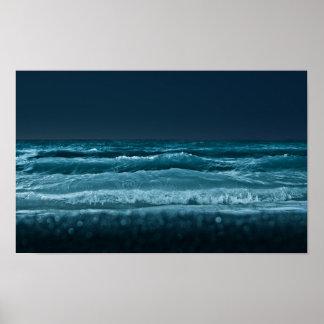 Olas oceánicas póster
