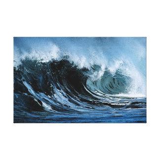 Olas oceánicas que se estrellan impresiones en lienzo estiradas