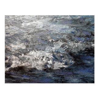Olas oceánicas tempestuosas grises de la pintura tarjetas postales