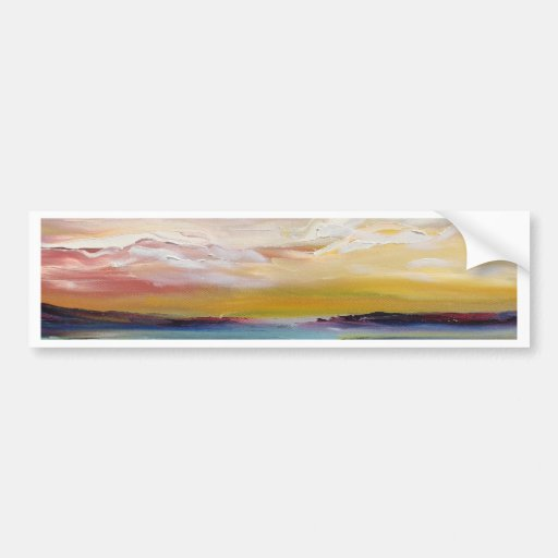 Olas oceánicas y nubes surrealistas etiqueta de parachoque