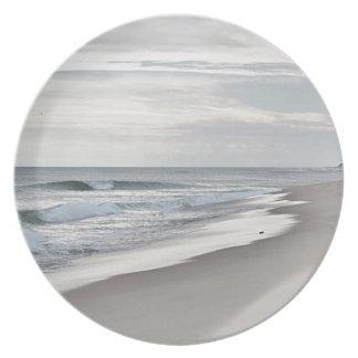 Olas oceánicas y playa plato para fiesta