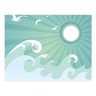 Olas oceánicas y Sun Tarjetas Postales