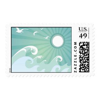 Olas oceánicas y Sun Timbre Postal