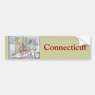 Old 1766 Connecticut Map Car Bumper Sticker