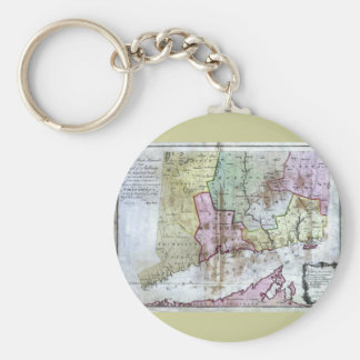 Old 1766 Connecticut Map Keychain