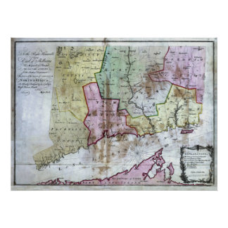 Old 1766 Connecticut Map Poster