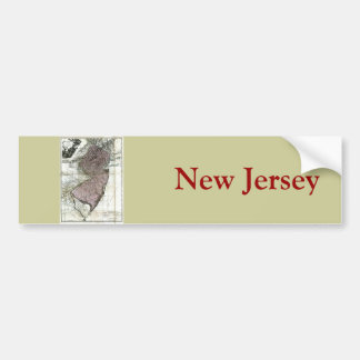 Old 1777 New Jersey Map Bumper Sticker