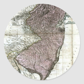 Old 1777 New Jersey Map Classic Round Sticker