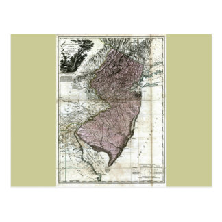 Old 1777 New Jersey Map Postcard
