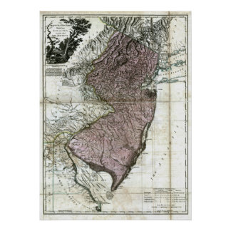 Old 1777 New Jersey Map Poster