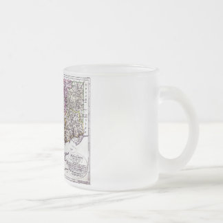 Old 1796 Connecticut Map Frosted Glass Coffee Mug