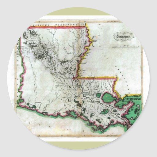 Old 1814 Louisiana Map Classic Round Sticker