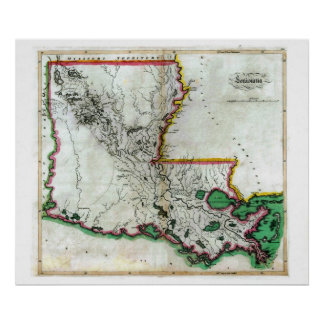 Old 1814 Louisiana Map Poster