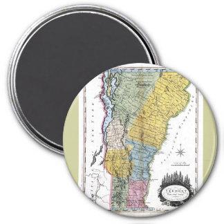 Old 1814 Vermont Map 3 Inch Round Magnet
