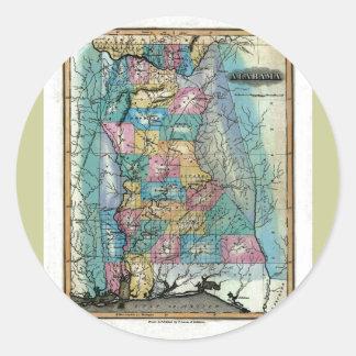 Old 1826 Alabama Map Classic Round Sticker