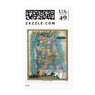Old 1826 Alabama Map Stamps