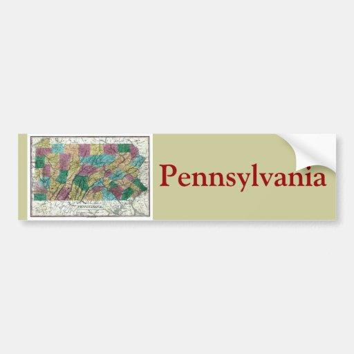 Old 1829 Pennsylvania Map Car Bumper Sticker