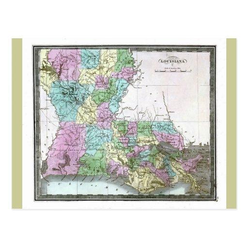 Old 1848 Louisiana Map Postcard