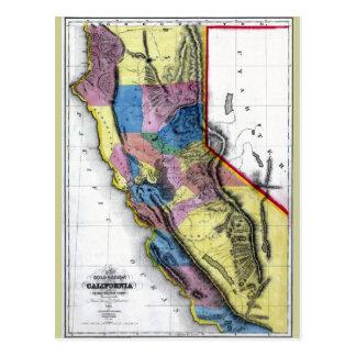 Old 1851 California Map Postcard