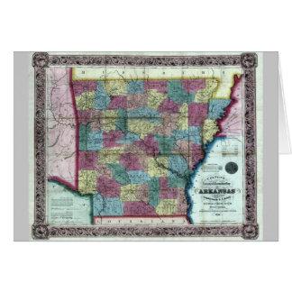 Old 1854 Arkansas Map Card