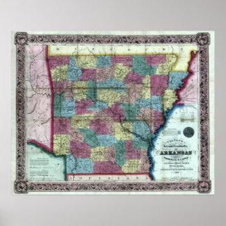 Old 1854 Arkansas Map Poster