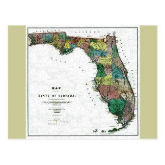 Old 1856 Florida Map Postcard