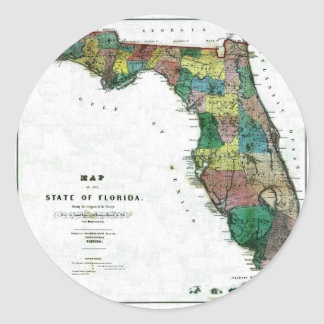 Old 1856 Florida Map Classic Round Sticker