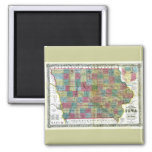 Old 1856 Iowa Map 2 Inch Square Magnet