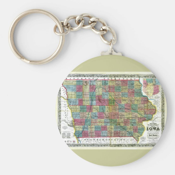 Old 1856 Iowa Map Keychain