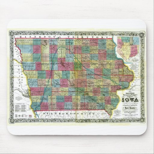 Old 1856 Iowa Map Mouse Mats
