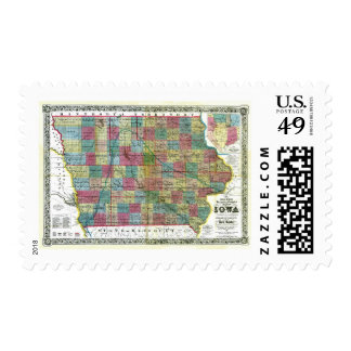 Old 1856 Iowa Map Postage Stamp