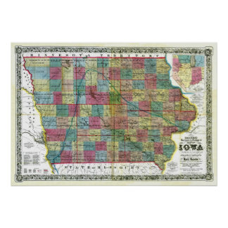 Old 1856 Iowa Map Poster