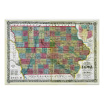 Old 1856 Iowa Map Posters