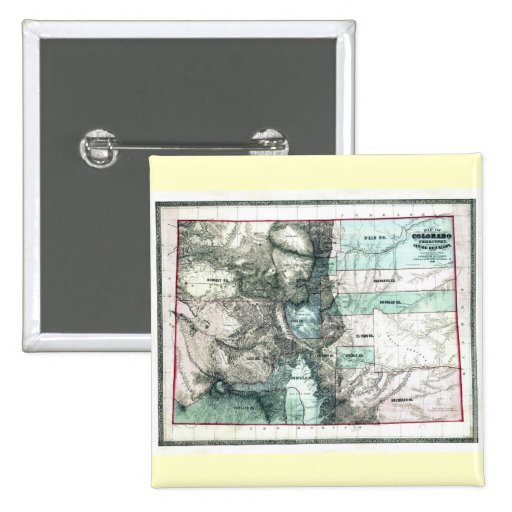 Old 1862 Colorado Map Pinback Buttons
