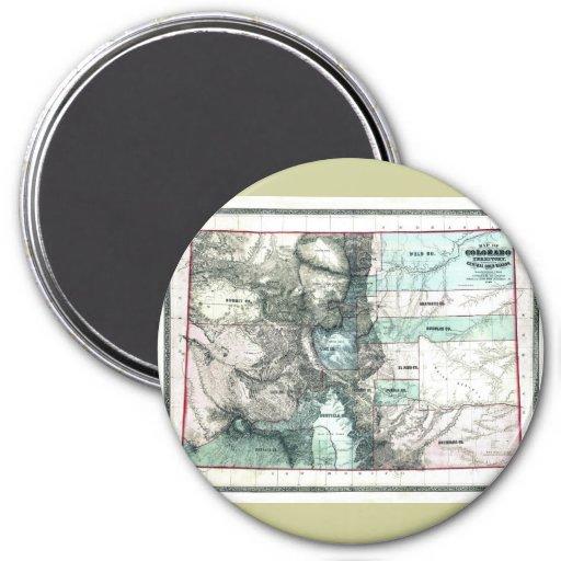 Old 1862 Colorado Map Refrigerator Magnets